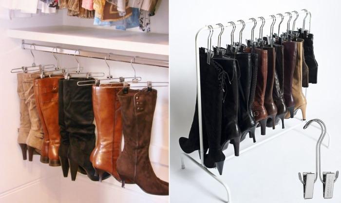 Оказывается, вешалки для брюк можно использовать для хранения сапог.